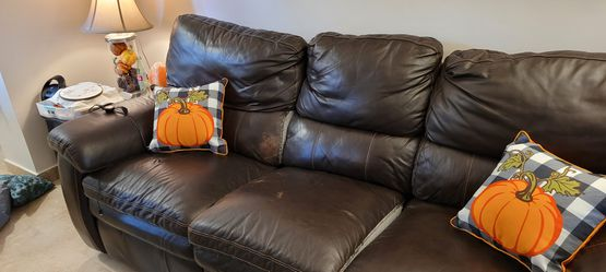 Leather Reclining 3 Seat Sofa with Storage Space for Sale in Hollywood,  FL