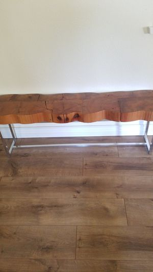 Live edge wood chrome bench for Sale in Fresno, CA