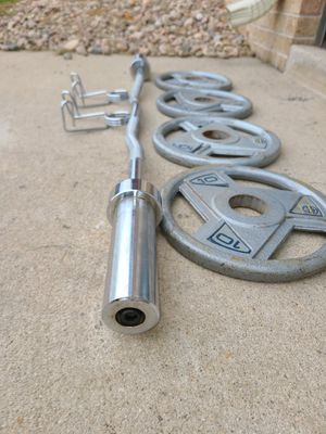Olympic curl bar, Olympic weight plates with collars for Sale in Denver, CO
