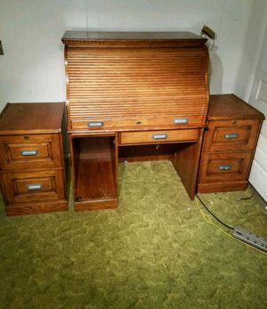Desk oak roll top s roll file cabinets for Sale in Orangeburg, SC