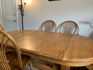Oak table with two leafs and six chairs - best offer for Sale in Everett, WA