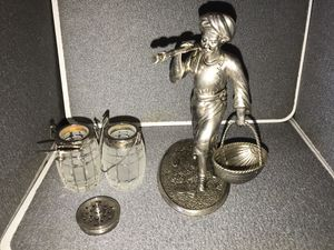 Antique metal and glass salt and pepper shaker holder for Sale in Santa Ana, CA