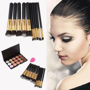 15-Colors Makeup Face Concealer Palette + 10pcs Brushes Set + Sponge Puff for Sale in Hampton, VA