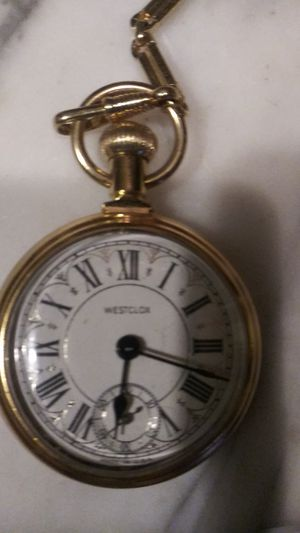 Electroplated. GOLD WESTCLOCK pocket watch with chain for Sale in Croydon, PA