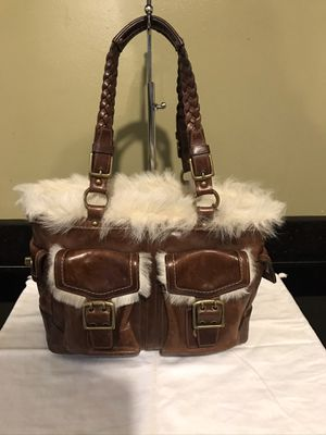 Coach Shearling Fur Distress Leather Tote Bag for Sale in Glen Ellyn, IL