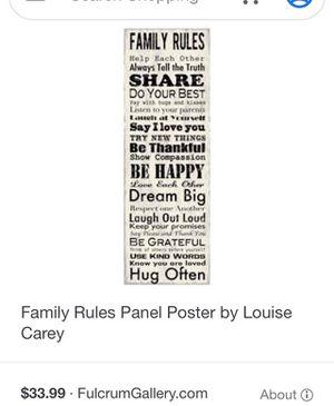 Family rule board for Sale in Riverside, CA