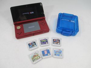 Red Nintendo 3DS with 6 games for Sale in Montebello, CA
