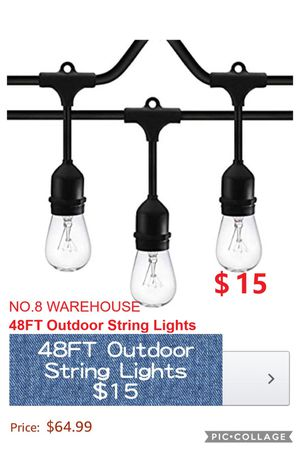 48FT Outdoor String Lights for Sale in La Puente, CA