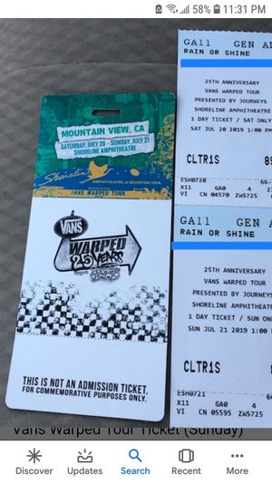 Vans warped tour tickets for Sale in San Francisco, CA