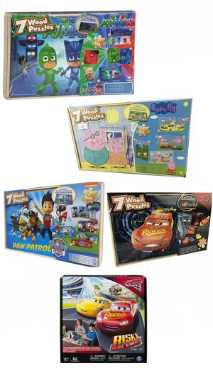 Set of 5 Wooden boxes of Wood Puzzles. Mcqueen, Peppa Pig, Paw Patrol or PJMAX and Games for Sale in Lehigh Acres, FL