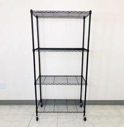 "New in box $50 Metal 4-Shelf Shelving Storage Unit Wire Organizer Rack Adjustable w/ Wheel Casters 30x14x61"" for Sale in El Monte,  CA"