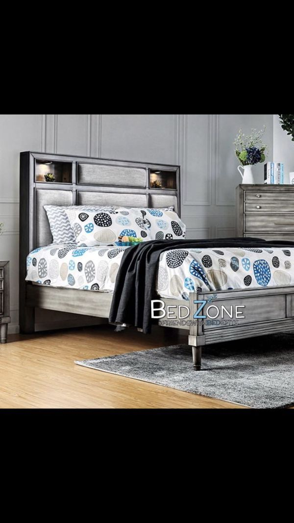 Brand New Wood + Fabric Bed Frame With Lighted Shelves - Queen, Eastern King, California King