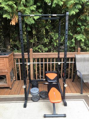 Power rack + adjustable bench + 25lb barbell and weights (130lb total) for Sale in Westborough, MA