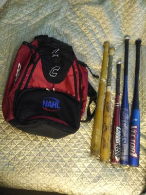 BASEBALL SOFTBALL BACKPACK BAG AND BATS. READ DETAILS for Sale in St. Louis, MO