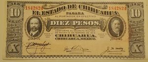 Uncirculated 10 Pesos Mexicanos El Estado de Chihuahua 10 de Febrero de 1914 for Sale in Alhambra, CA