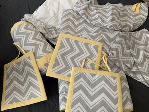 Yellow, Gray and White Crib Set for Sale in Lorton, VA