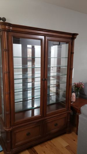 China cabinet with custom glass shelf for Sale in Waddell, AZ