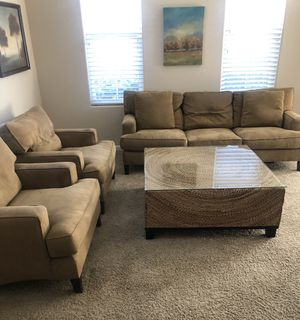 Couch, 2 arm chairs, coffee table with glass cover top, 400 dollars for all for Sale in Roseville, CA