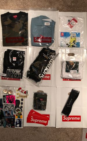 Supreme tee shirt water shorts handwarmer utility pouch headband stickers accessories for Sale in Mill Creek, WA