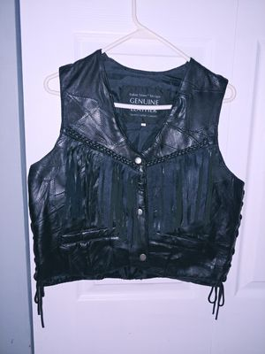 Leather womens vest black large for Sale in Gambrills, MD