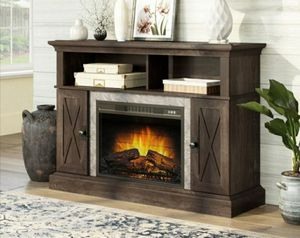 """Kellum Media Fireplace Console for TV's up to 58"""", Rustic Brown Finish for Sale in Houston, TX"""