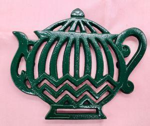"Enamel Cast Iron Trivet 8."" Green Tea Pot design with rubber feet. for Sale in Topanga, CA"