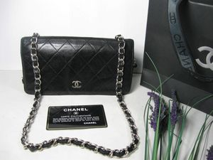 Chanel Black Lambskin Leather CC Long Flap Bag Wallet for Sale in Johnsburg, IL