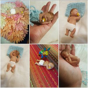 Tiny polymer clay babies baby showers,cake,decoration,Gender Reveal for Sale in Norwalk, CA