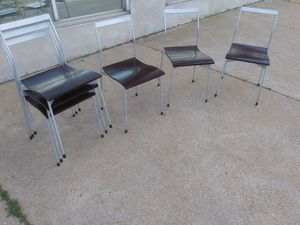 Set of 6 vintage stackable metal + wood chairs by Hot House for Sale in St. Louis, MO