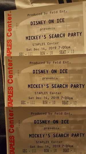 Disney on Ice Mickey's Search Party 3 tickets 12/14/2019 7pm for Sale in West Puente Valley, CA