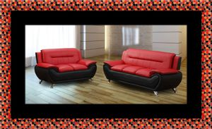 Red/black sofa and loveseat 2pc set for Sale in Rockville, MD