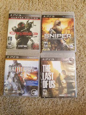 Ps3 Games FPS Battlefield Last of Us Crysis 3 Sniper for Sale in Murrieta, CA