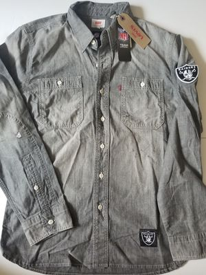 Levis NFL Oakland Raiders Vintage Chambray Shirt Mens Distressed Gray for Sale in San Diego, CA