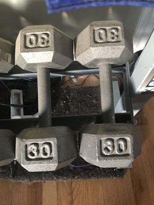 2 each - 30 lb hex dumbbells for Sale in Tacoma, WA