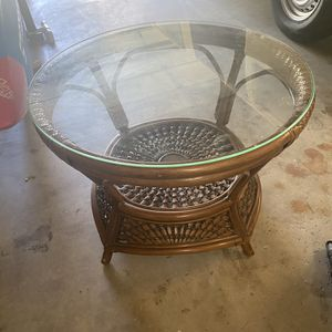 Wicker and Glass Coffee Table for Sale in Ladera Ranch, CA