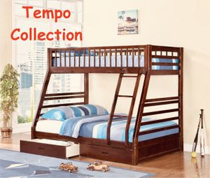 NEW IN THE BOX. TWIN OVER FULL BUNK BED FRAME WITH 2 DRAWERS, ESPRESSO, SKU# TC7588-CH for Sale in Fountain Valley, CA