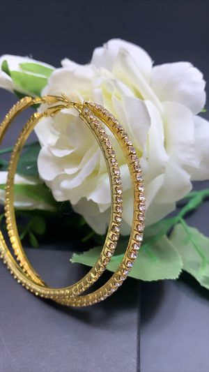 18K Gold Plated 86mm Big Circle Rhinestone Hoop Earrings, Gold Color for Sale in Los Angeles, CA