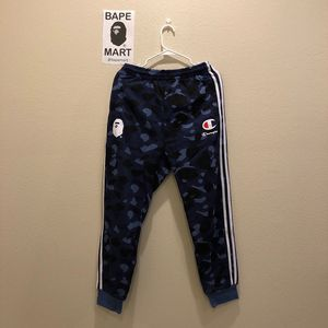 Bape champion sweatpants camo blue (fits like medium/large) for Sale in San Fernando, CA