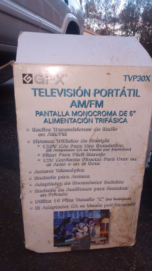 GPX AM/FM black and.white portable TV for Sale in Tacoma, WA