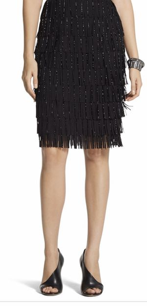 Chico's BLACK LABEL beaded fringe skirt, sz 10 for Sale in Silver Spring, MD
