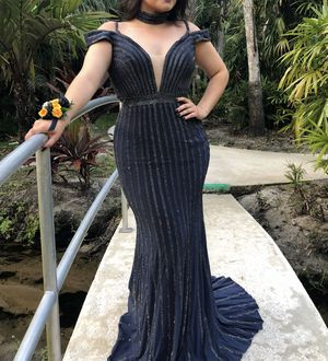 Navy Blue prom Dress with matching choker for Sale in Palm Bay, FL