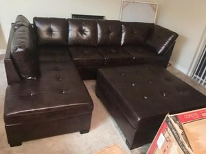 Brown Leather Sectional Sofa Couch!!Brand New Free Delivery for Sale in Downers Grove, IL