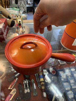 Vintage Descoware Belgium 7-B 16 FE Orange Red Flame Sauce Pan Mid Century for Sale in Portland, OR