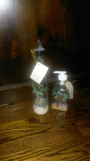 Garden Party of Vermont set of two hand-painted kitchen bottles. for Sale in Oak Lawn, IL