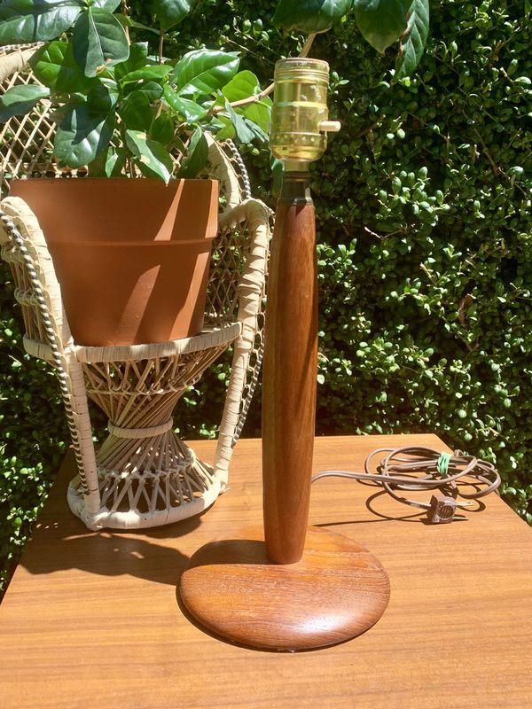 Mid Century Teak Wood Table Lamp Pair