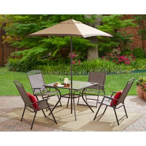 Mainstays Butler Heights 6-Piece Steel Sling Folding Set. GLASS TABLE TOP IS BROKEN for Sale in Hilliard, OH