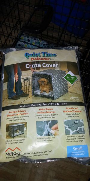 small dog crate 24L x 18W x 19H Comes with bed and a crate cover Doors open on both side of the cage $50 for Sale in Cranston, RI