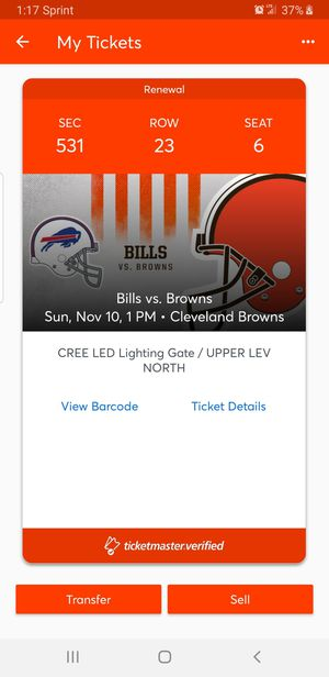 Buy now if we when win todays game against the ravens or even keep it a close game ticket prices will go up...Browns vs buffalo bills only 1 ticket for Sale in Cleveland, OH