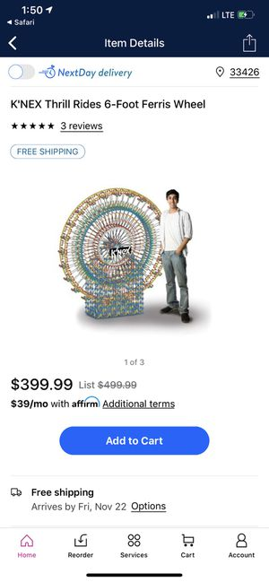 Half price!!! 50% off knex Ferris wheel huge collector set thrill rides great for LEGO building fans. Retail $400 when on sale ! First $200 picked up for Sale in Boynton Beach, FL