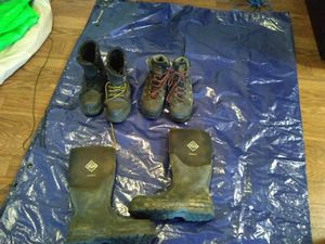 3 pairs of expensive work boots muck rubber boots men's size 11 near new timberland pro size 9.5 refrigawear size 10 for Sale in Westminster, CO